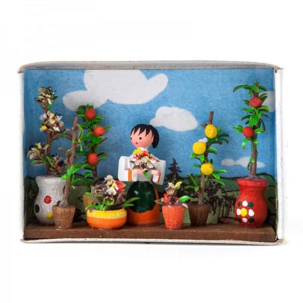 Dregeno Erzgebirge - Miniatur-Zündholzschachtel Blumenmarkt