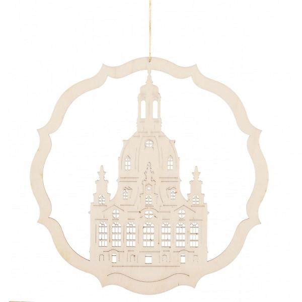Dregeno Erzgebirge - Fensterbild Dresdner Frauenkirche, natur - 19cm