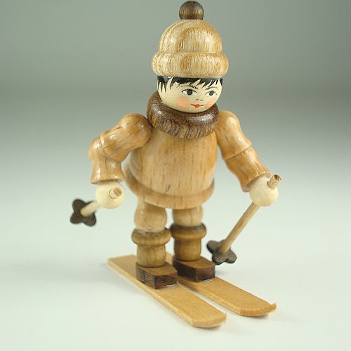 Lenk & Sohn Gedrechselte Holzfigur Erzgebirge Winterkinder Ski Abfahrer