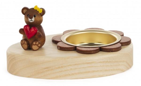 Dregeno Erzgebirge - Teelichthalter Teddy mit Herz
