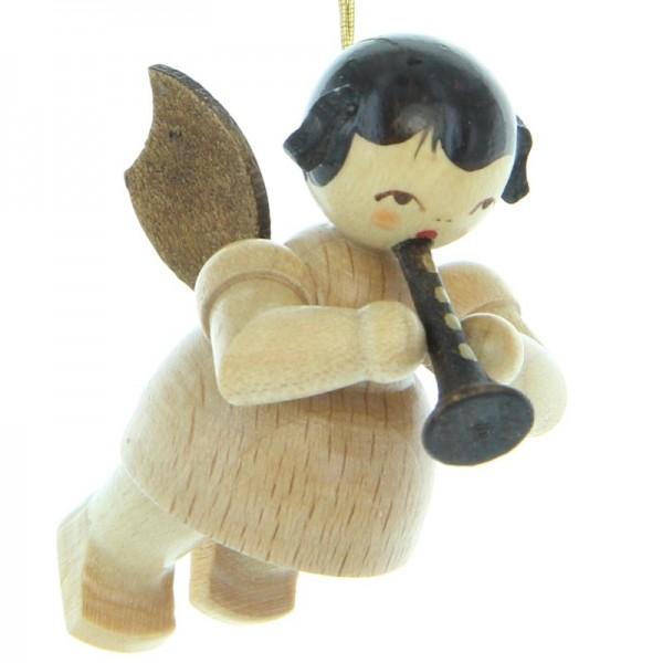 Uhlig Engel schwebend mit Flöte , natur, handbemalt