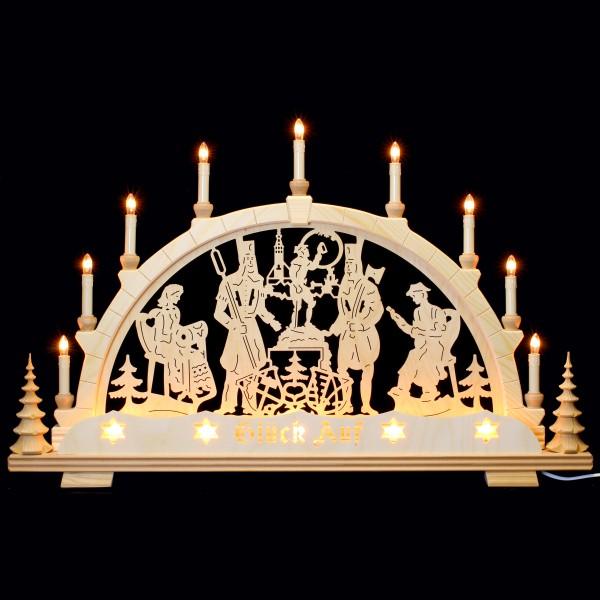 Holzkunst Niederle - Schwibbogen 14-flammig - Freiberger Motiv