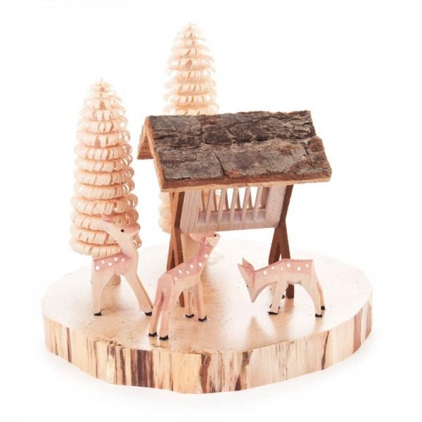 Dregeno Erzgebirge - Miniatur-Geschnitzte Rehe mit Futterraufe und Bäumchen,auf Baumscheibe