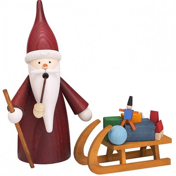 Seiffener Volkskunst Traditionswichtel zum Räuchern - Weihnachtsmann mit Schlitten