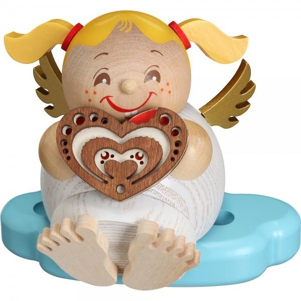 Seiffener Volkskunst Neuheit - Kugelräucherfigur Engel mit Lebkuchen