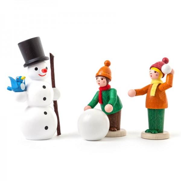 Dregeno Erzgebirge - Miniatur-Winterkinder mit Schneemann, farbig lasiert, 3 Figuren
