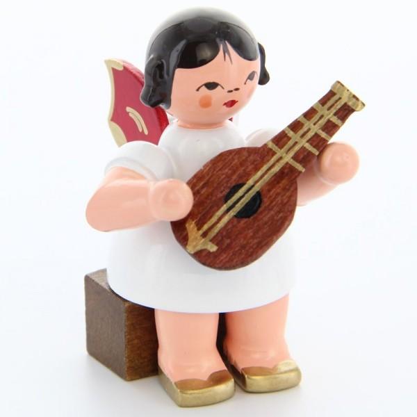 Uhlig Engel sitzend mit Mandoline, rote Flügel, handbemalt