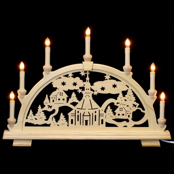 Holzkunst Niederle - Schwibbogen 7-flammig (52cm) - Seiffener Motiv