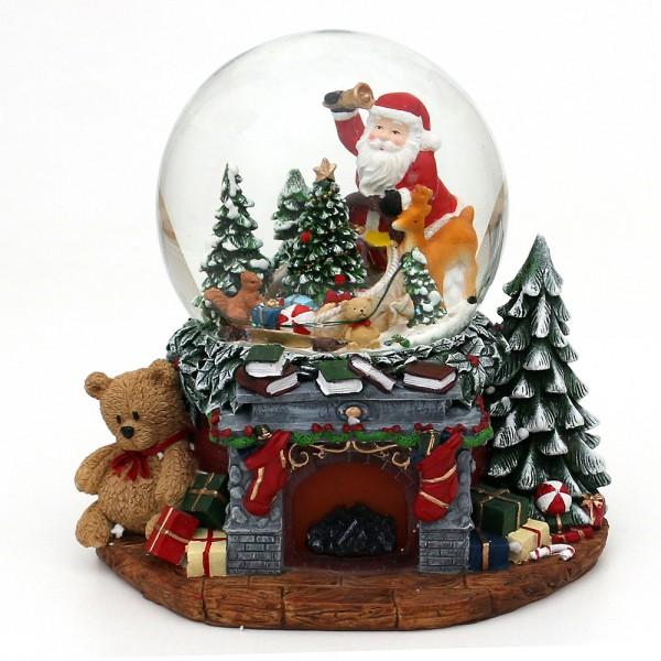 Restposten - Polyresin Schneekugel Weihnachtskamin mit Santa & Tannenbaum 25,5 x 20 x 22,5 cm Ø 15 cm Batteriebetrieb AA, LED, Bewegung, Farbwechsel,