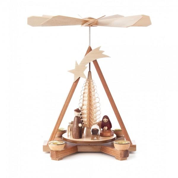 Dregeno Erzgebirge - Pyramide klein mit Christi Geburt, für Kerzen - 26cm