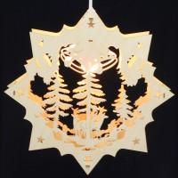 Fensterbild Erzgebirge beleuchtet - Motiv Waldtiere - 27cm