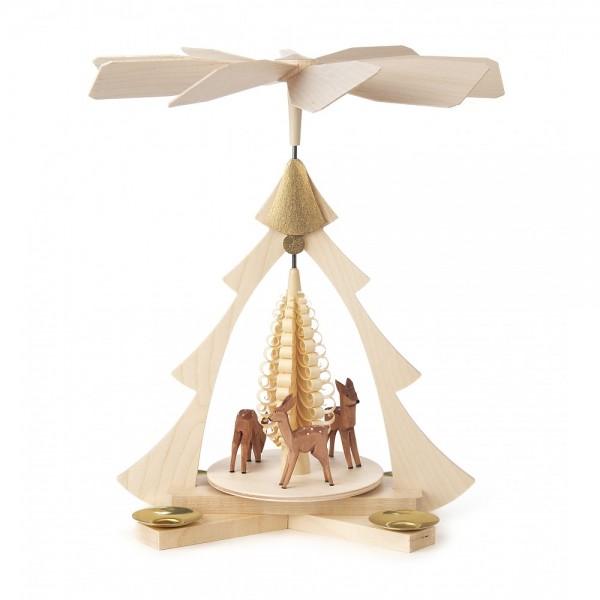 Dregeno Erzgebirge - Pyramide klein mit geschnitzte rehe, für Kerzen - 27cm