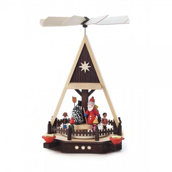 Dregeno Erzgebirge - Pyramide mit Kinder, Weihnachtsmann und Schneemann, für Kerzen - 34cm