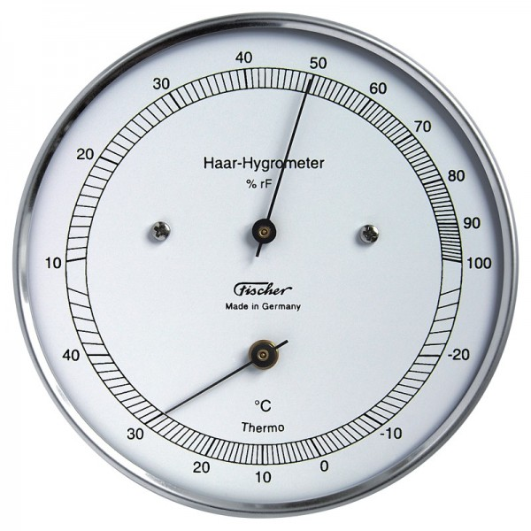 Fischer Präzis Haar-Hygrometer mit Thermometer im Edelstahlgehäuse
