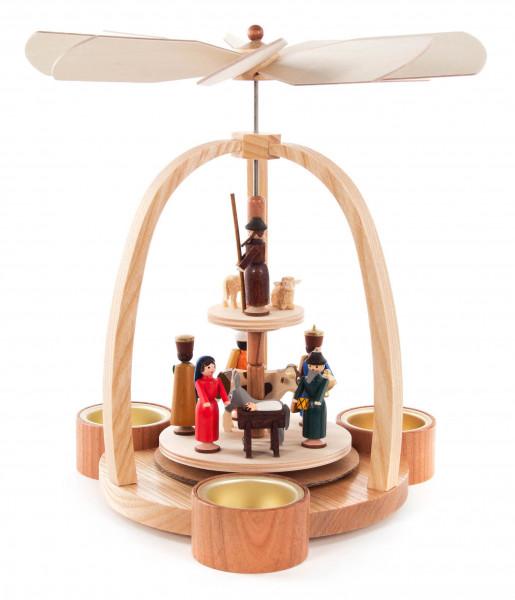 Dregeno Erzgebirge - Pyramide mit Christi Geburt farbig, für Teelichte