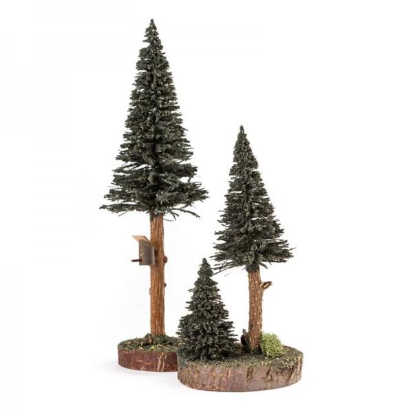 Dregeno Erzgebirge - Miniatur-Nadelbäume mit Vogelhaus, grün, 2-teilig