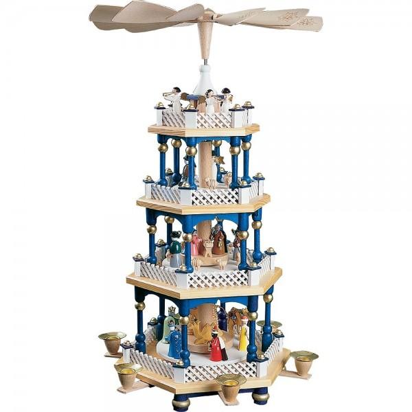 Richard Glässer Erzgebirgspyramide Christi Geburt 3-stöckig blau 54cm
