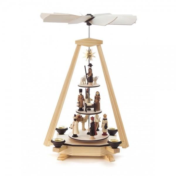 Dregeno Erzgebirge - Pyramide mit Christi Geburt, Figuren natur, 3-stöckig - 33cm