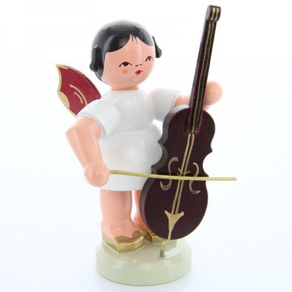Uhlig Engel groß stehend mit Cello, rote Flügel, handbemalt