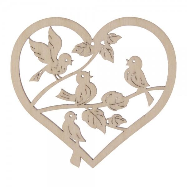 Dregeno Erzgebirge - Fensterbild klein, Motiv: Herz mit Vögeln, natur
