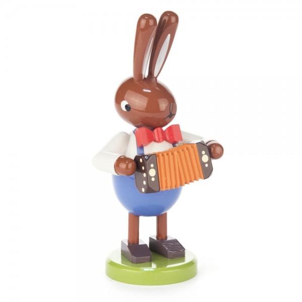 Dregeno Erzgebirge - Hase mit Ziehharmonika, groß