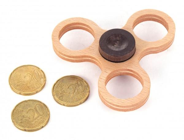 Dregeno Erzgebirge - Holz-Hand-Kreisel klein, natur (für 20-Cent-Münzen)