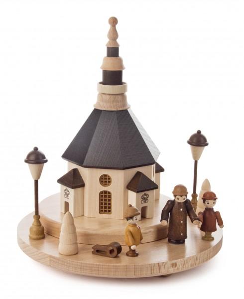 Dregeno Erzgebirge - Sockel-Seiffener Kirche u.Marktfiguren mit LED Beleuchtung
