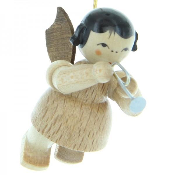 Uhlig Engel schwebend mit Piccolotrompete, natur, handbemalt