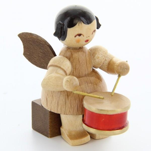 Uhlig Engel sitzend mit Trommel, natur, handbemalt