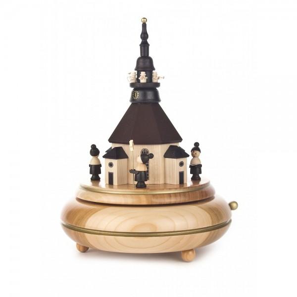 Dregeno Erzgebirge - Spieldose Seiffener Kirche mit Turmbläse und Kurrende, 18-stimmiges Spielwerk