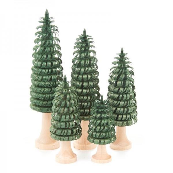 Dregeno Erzgebirge - Miniatur-Gerillte Bäume mit Stamm, grün, 5-teilig