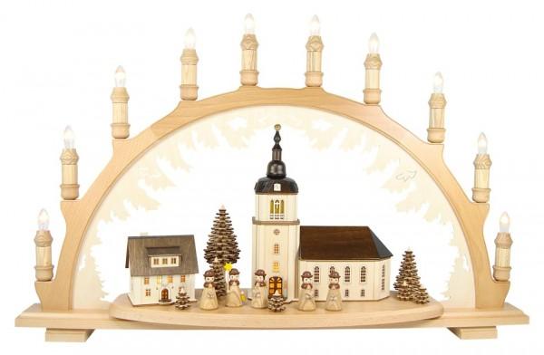 Lenk & Sohn Schwibbogen Erzgebirge 1-fach, 10-flammig Dorfkirche mit Kurrende