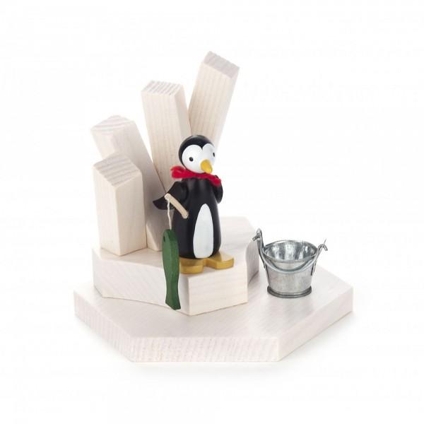 Dregeno Erzgebirge - Teelichthalter Pinguin als Angler
