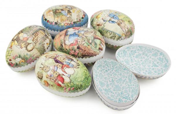 Dregeno Erzgebirge - Ostereier zum Befüllen »Beatrix Potter«, weiße Borte, 12cm, 6 Motive sortiert (12)