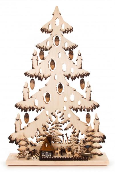 Dregeno Erzgebirge - Schwibbogen Tanne groß »Wildgehege« mit Zapfen, indirekt elektrisch beleuchtet