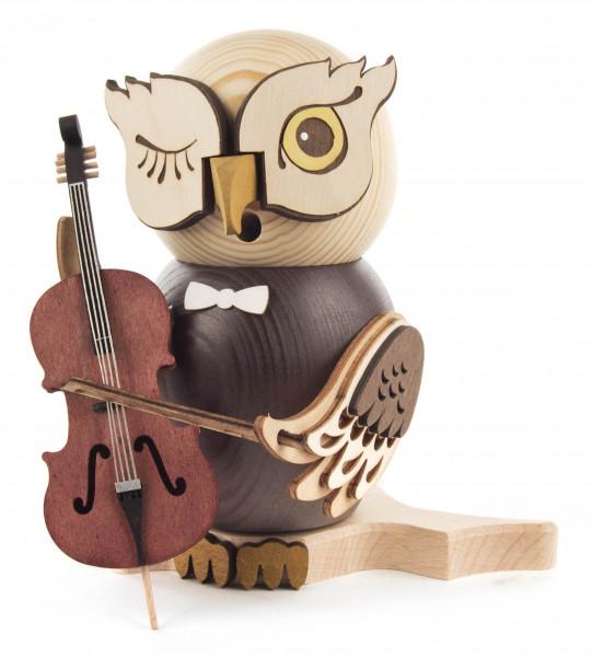 Dregeno Erzgebirge - Räucherfigur Eule mit Cello