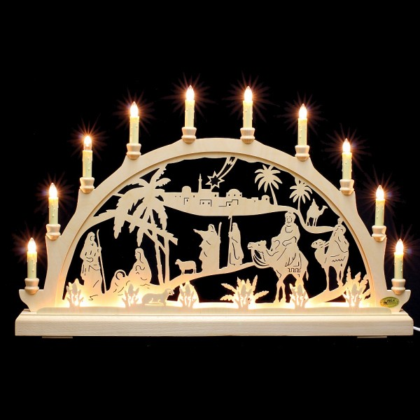 HELA Holzkunst - Schwibbogen Erzgebirge 16flammig - Christi Geburt indirekt beleuchtet