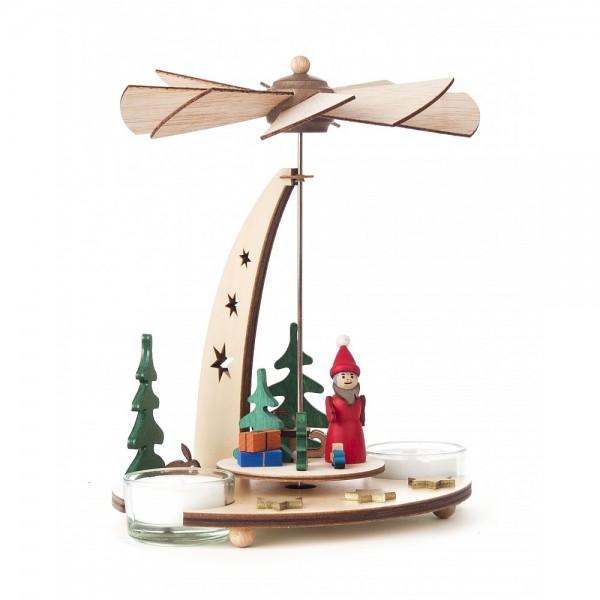 Dregeno Erzgebirge - Pyramide klein mit Weihnachtsmann für Teelichter - 18cm