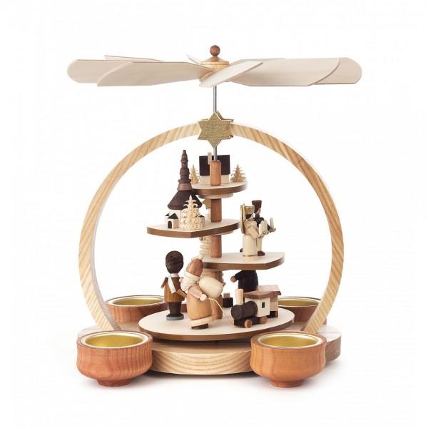 Dregeno Erzgebirge - Stufenpyramide Seiffener Weihnacht, natur, für Teelichter
