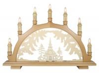 Lenk & Sohn Schwibbogen Erzgebirge 1-fach, 7-flammig Motiv Seiffener Kirche