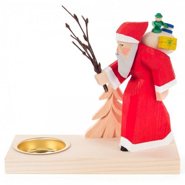 Dregeno Erzgebirge - Teelichthalter mit Weihnachtsmann und Bäumchen geschnitzt