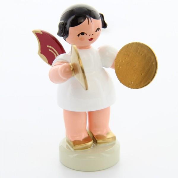 Uhlig Engel stehend mit Becken, rote Flügel, handbemalt