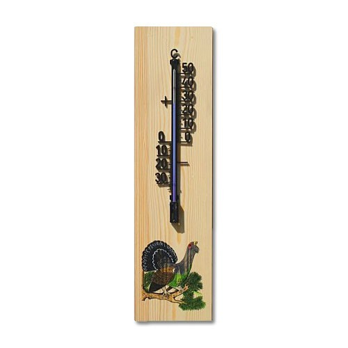 Wandthermometer aus Holz XL - Motiv Auerhahn