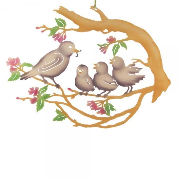Dregeno Erzgebirge - Fensterbild, Motiv: Vogelfamilie auf Baum, farbig