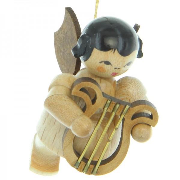 Uhlig Engel schwebend mit Leier, natur, handbemalt