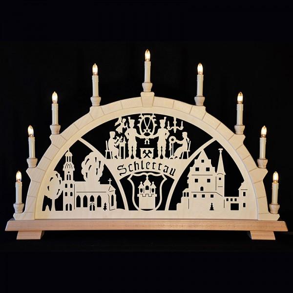 Holzkunst Niederle - Großer Schwibbogen mit geschnitzten Bogen - Motiv Schlettau