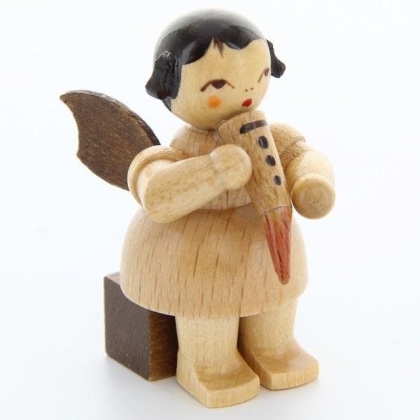 Uhlig Engel sitzend mit Gemshorn, natur, handbemalt
