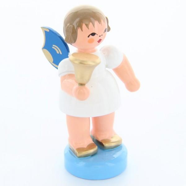 Uhlig Engel stehend mit Glocke, blaue Flügel, handbemalt