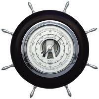 Fischer Barometer Steuerrad Maritim mit Holzgehäuse schwarz-chrom