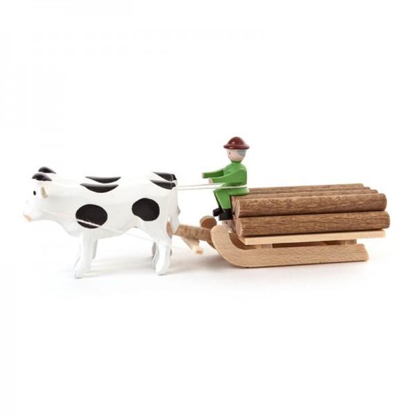 Dregeno Erzgebirge - Miniatur-Ochsen mit Klötzerschlitten